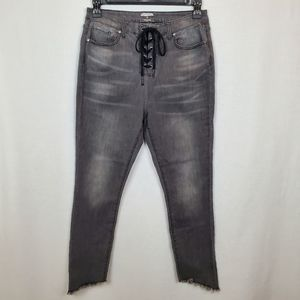 Project Runway distressed raw hem lace up jeans 12